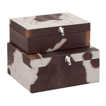 Decorative Faux-Leather Box Table Decor 2-piece Set