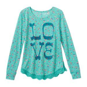 Girls 7-16 Mudd® Crochet Scalloped Graphic Tee