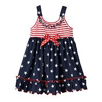 Toddler Girl Sophie Rose Patriotic Star & Stripe Ruffled Dress