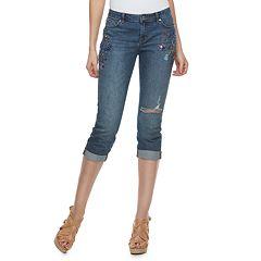 Petite Jennifer Lopez Ripped Embellished Capri Jeans