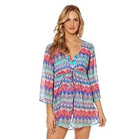 Women's Pink Envelope Geometric Chiffon Cover-Up