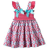 Toddler Girl Sophie Rose Smocked Tribal Dress