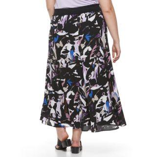 Plus Size Dana Buchman Crepe Maxi Skirt