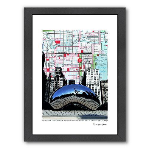 Americanflat Chicago Millennium Park Bean Framed Wall Art