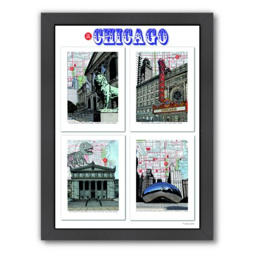 "Americanflat ""Chicago"" Poster Framed Wall Art"