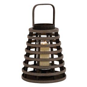 Round Slat Lantern Candle Holder