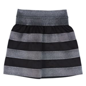 Girls 7-16 IZ Amy Byer Black & Silver Striped Scuba Skirt