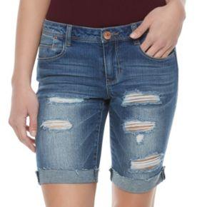 Juniors' Almost Famous Ripped Jean Bermuda Shorts