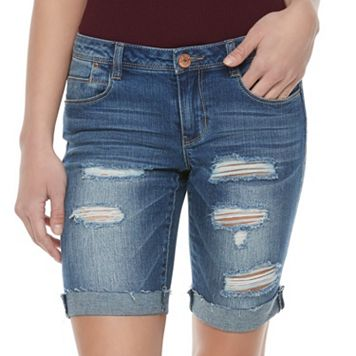 Juniors' Almost Famous Ripped Jean Bermuda Shorts
