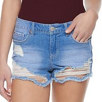Juniors' Almost Famous Ripped Shortie Jean Shorts