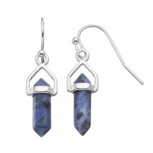 Healing Stone Silver Plated Sodalite Crystal Drop Earrings