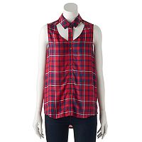 Women's Rock & Republic® Plaid Cutout Tank