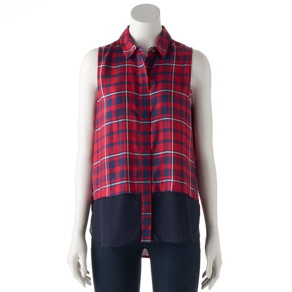 Women's Rock & Republic® Plaid Sleeveless Shirt