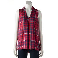 Women's Rock & Republic® Plaid Button Back Tank