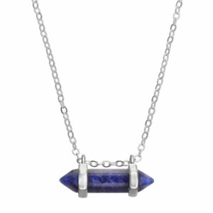 Healing Stone Silver Plated Horizontal Sodalite Crystal Pendant Necklace