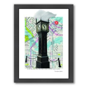 Americanflat Gastown Clock Vancouver BC Framed Wall Art