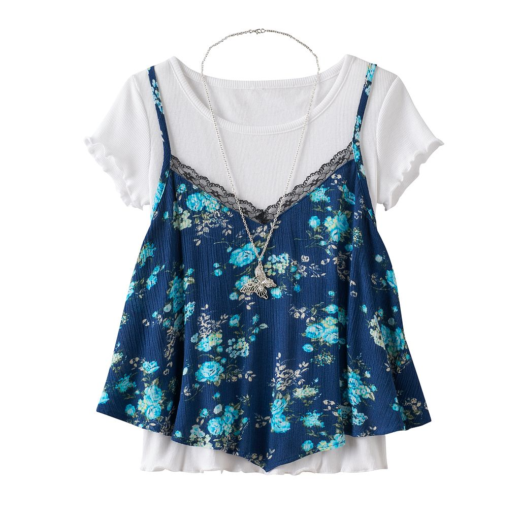 Girls 7-16 Knitworks Floral Tank Top & Ruffled Tee Set with Necklace