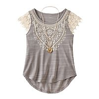 Girls 7-16 Knitworks Crochet Lace Sleeve Top with Necklace