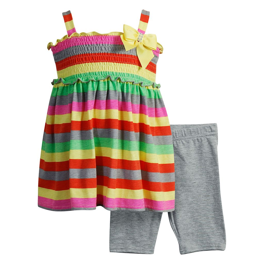 Toddler Girl Youngland Striped Tunic & Bike Shorts Set