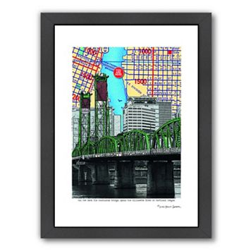 Americanflat Hawthorne Bridge Portland Framed Wall Art