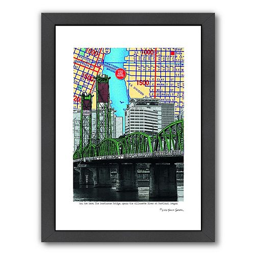Americanflat Hawthorne Bridge Portland Framed Wall Art