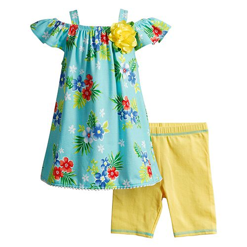 Toddler Girl Youngland Floral Tunic & Bike Shorts Set