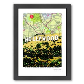 """Americanflat """"Hollywood"""" Sign Framed Wall Art"""
