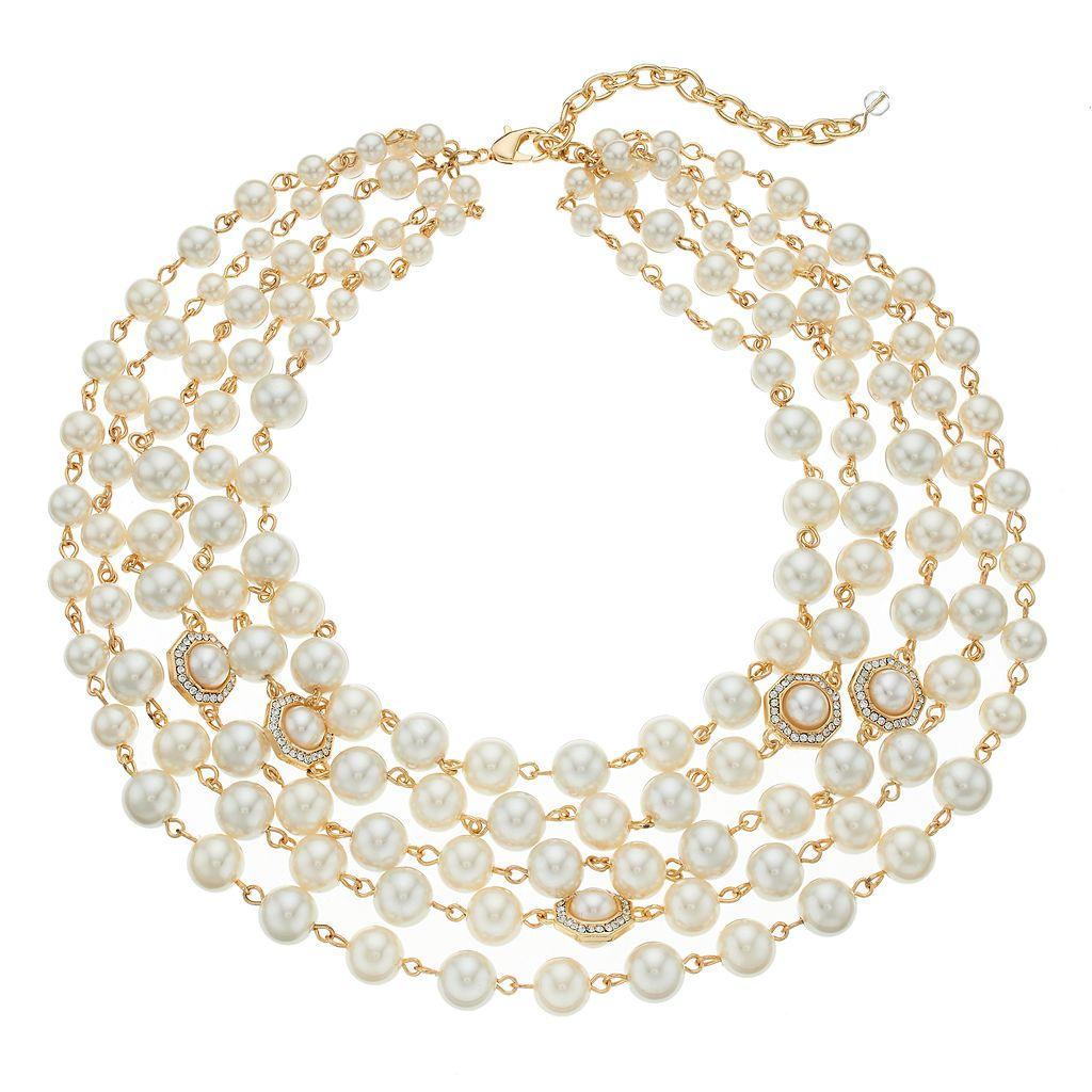 Napier Simulated Pearl Multi Strand Necklace
