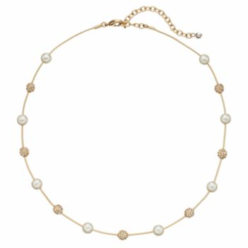 Napier Simulated Pearl & Fireball Station Necklace