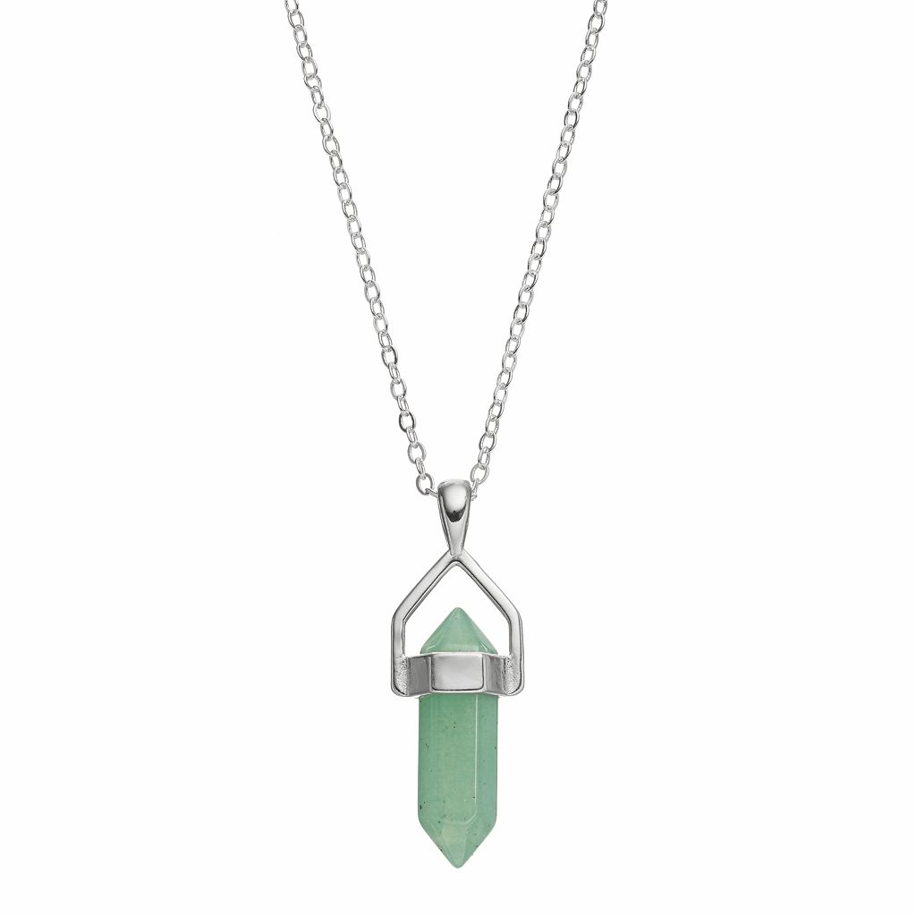 Healing Stone Silver Plated Vertical Aventurine Crystal Pendant Necklace