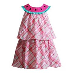 Toddler Girl Youngland Plaid Watermelon Popover Dress