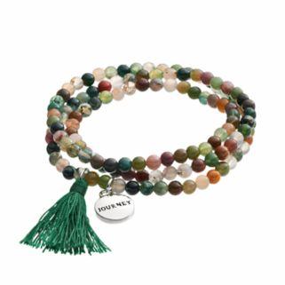 "Healing Stone Jasper Bead & ""Journey"" Charm Wrap Bracelet"