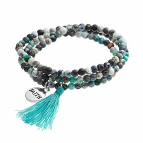 """Healing Stone Agate Bead & """"Faith"""" Charm Wrap Bracelet"""