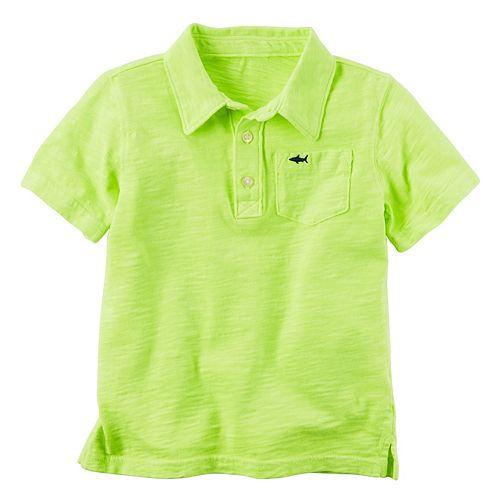 Toddler Boy Carter's Short Sleeve Slubbed Solid Polo Shirt