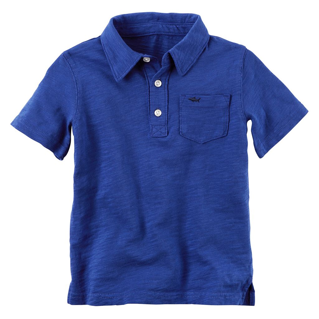 Baby Boy Carter's Short Sleeve Slubbed Solid Polo Shirt