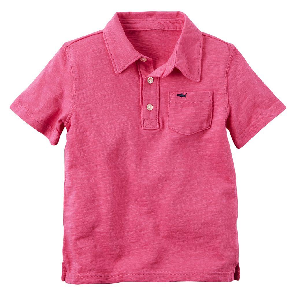 Boys 4-8 Carter's Short Sleeve Slubbed Solid Polo Shirt