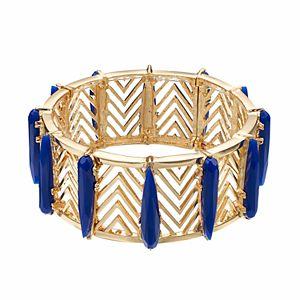 Jennifer Lopez Blue Stone Openwork Chevron Stretch Bracelet