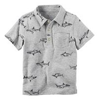 Boys 4-8 Carter's Short Sleeve Printed Slubbed Polo Shirt