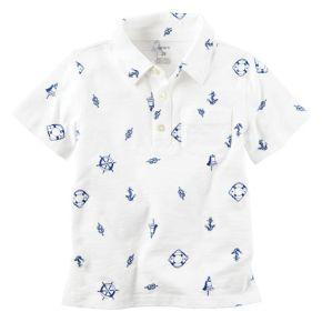 Boys 4-8 Carter's Short Sleeve Printed Slubbed Polo Shirt
