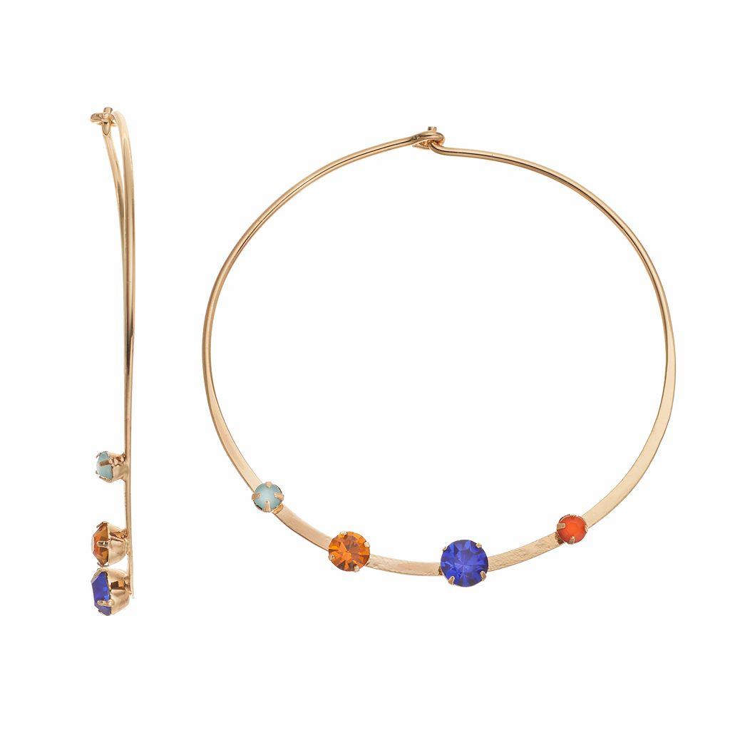 Jennifer Lopez Multi Color Stone Hoop Earrings
