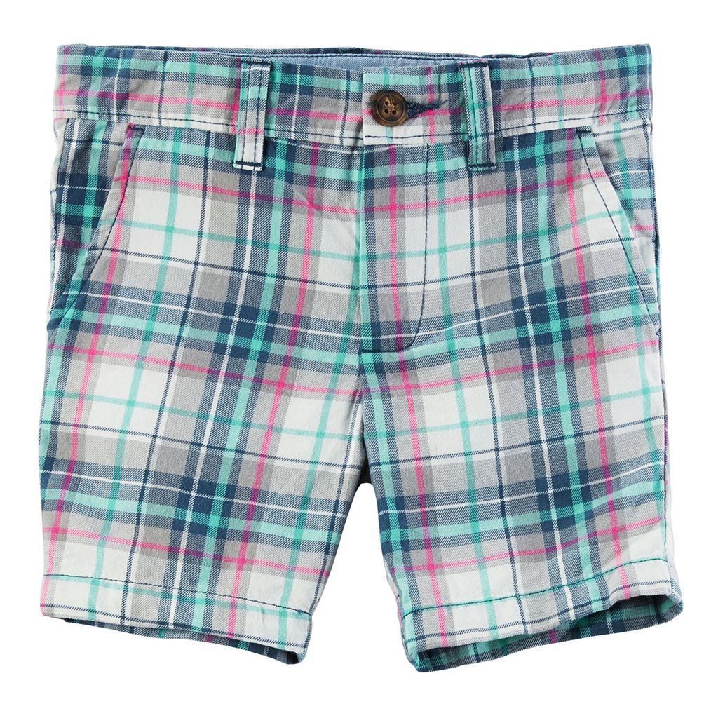 Toddler Boy Carter's Pink & Mint Plaid Flat Front Shorts