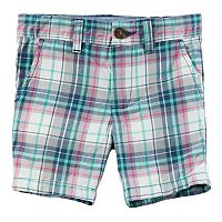 Toddler Boy Carter's Pink & Mint Plaid Flat Front Shorts