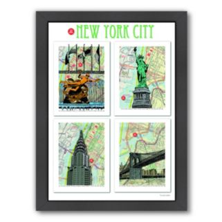 "Americanflat ""New York City"" Poster Framed Wall Art"