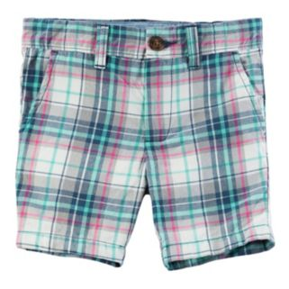 Boys 4-8 Carter's Pink & Mint Plaid Flat Front Shorts