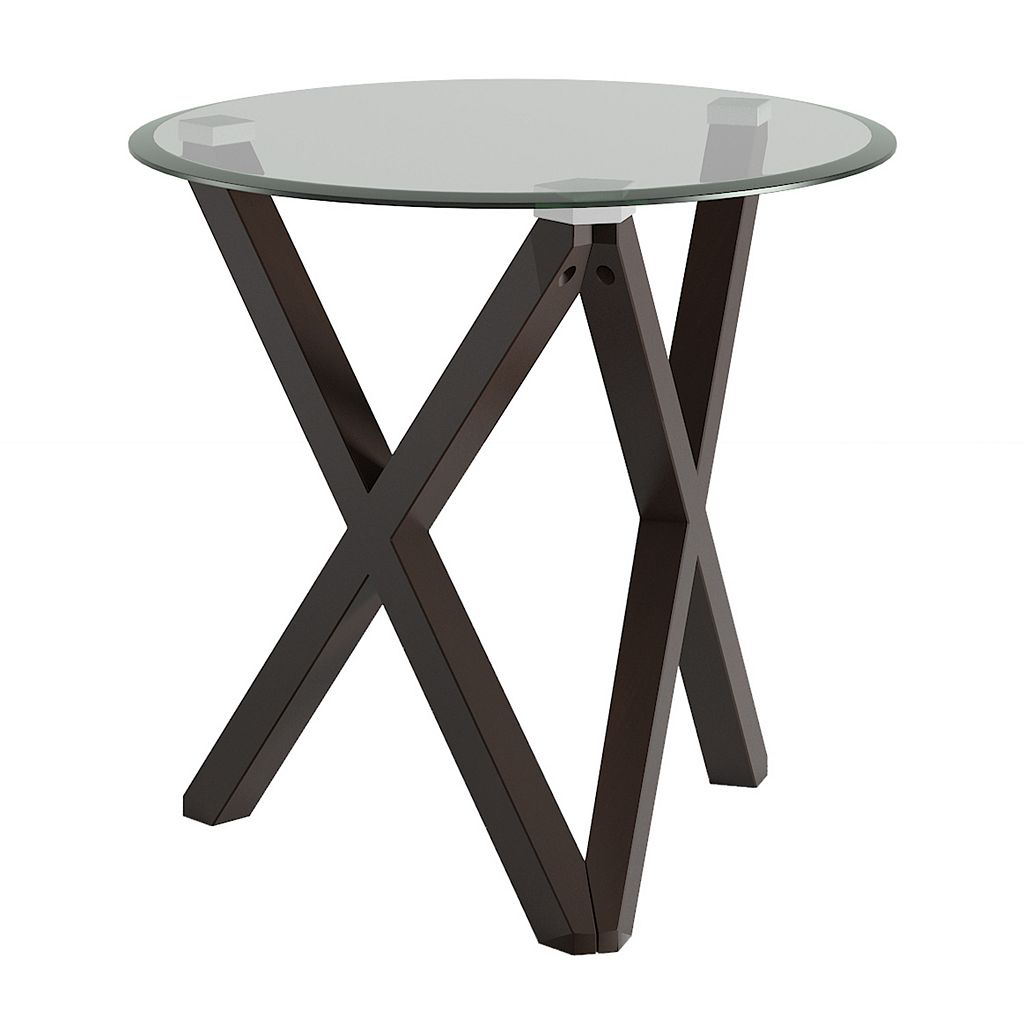 HomeVance Acama Contemporary Glass Top End Table