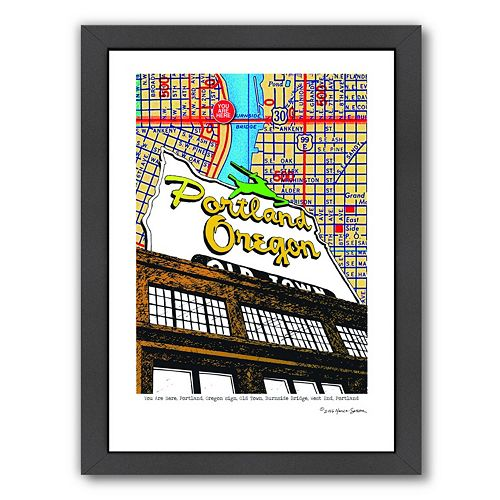 """Americanflat """"Portland, Oregon"""" Map Sign Old Town Framed Wall Art"""