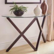 HomeVance Acama Contemporary Glass Top Console Table