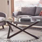 HomeVance Acama Contemporary Glass Top Coffee Table