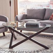 HomeVance Acama Contemporary Glass Top Coffee Table