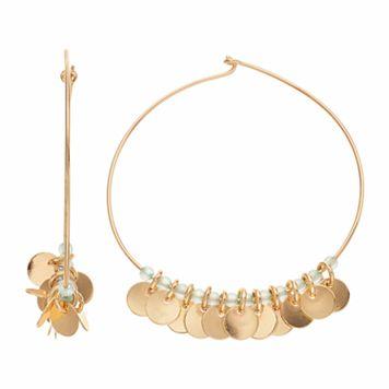 Jennifer Lopez Clear Bead & Disc Hoop Earrings